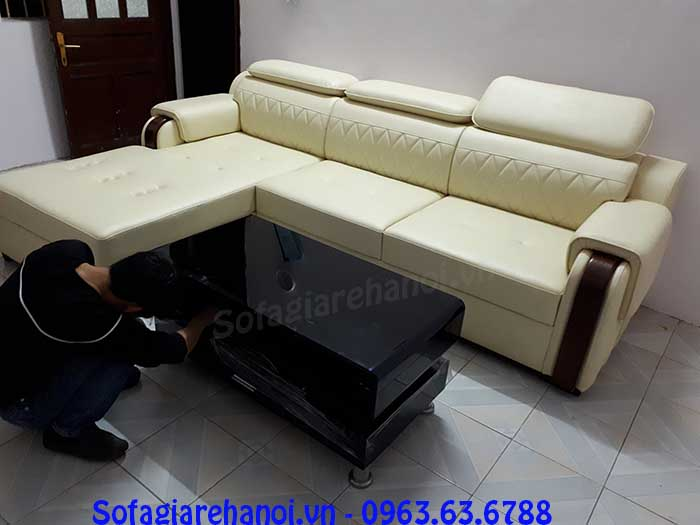 Hình ảnh mẫu ghế sofa da góc chữ L màu trắng sữa đẹp hiện đại
