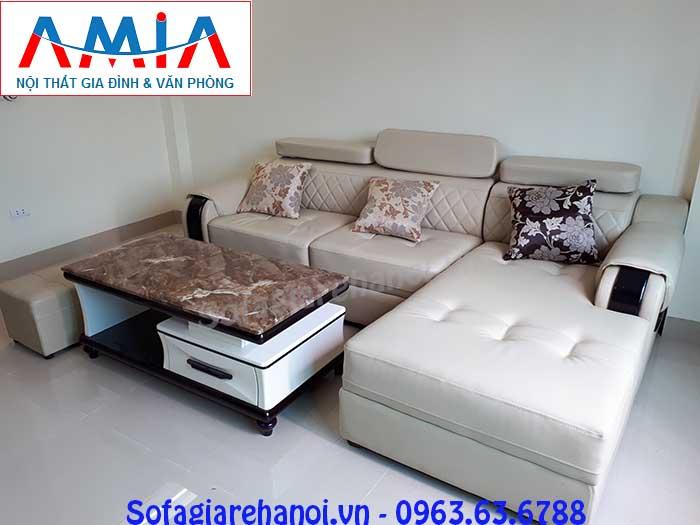Hình ảnh mẫu ghế sofa da góc chữ L 3 chỗ đẹp hiện đại và sang trọng