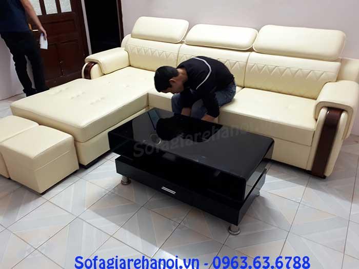 Hình ảnh mẫu ghế sofa da góc chữ L thật hiện đại và sang trọng kết hợp cùng bàn trà sofa đẹp