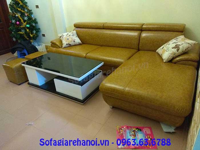 Hình ảnh mẫu ghế sofa da góc chữ L đẹp màu vàng độc đáo
