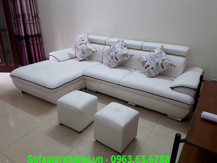 Hình ảnh bộ ghế sofa da góc chữ L màu trắng đẹp hiện đại, thời thượng