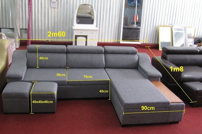 Hình ảnh kích thước ghế sofa nỉ đẹp 3 chỗ góc chữ L