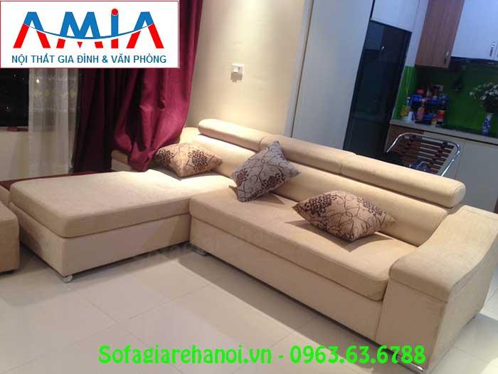 Hình ảnh sofa nỉ góc chữ L đẹp kết hợp gối ôm trang trí