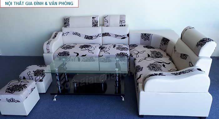 Hình ảnh bộ sofa góc giá rẻ với chất liệu da pha nỉ đẹp hiện đại