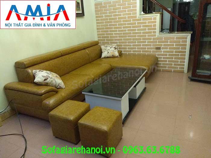 Hình ảnh mẫu sofa da góc chữ L với gam màu độc đáo và mới lạ
