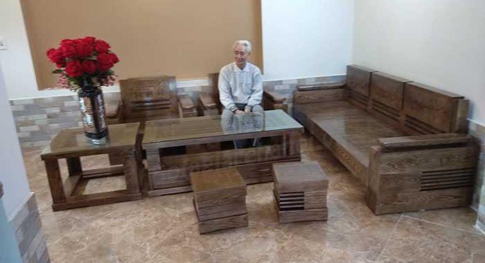 Hình ảnh mẫu ghế sofa gỗ sồi chữ L đẹp hiện đại