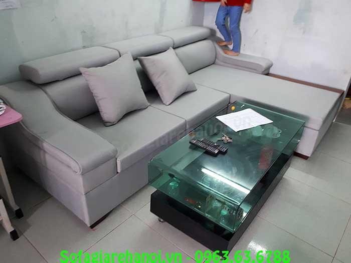 Hình ảnh sofa nỉ hình chữ L đẹp hiện đại kết hợp bàn trà kính đẹp