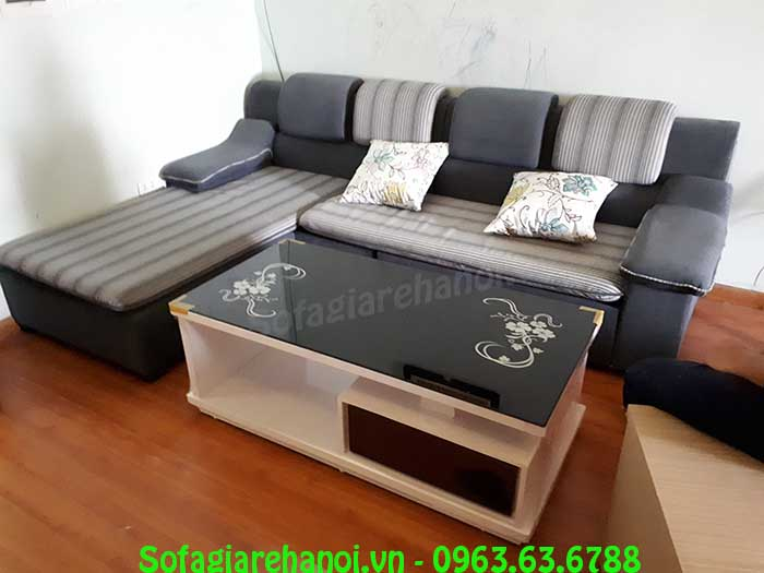 Hình ảnh bộ bàn ghế sofa nỉ chữ L đẹp hiện đại, sang trọng