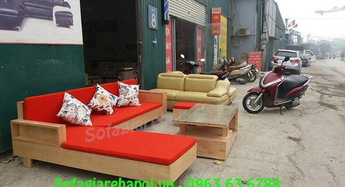 Hình ảnh bộ bàn ghế gỗ chữ L tích hợp nệm nỉ cho phòng khách chung cư
