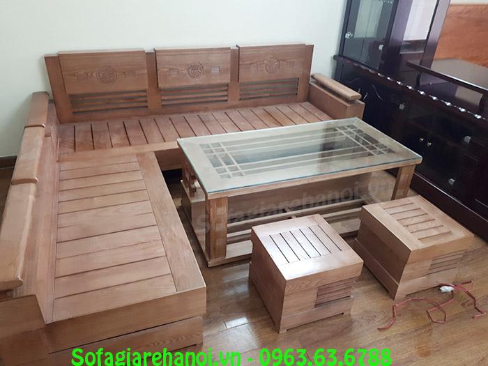 Hình ảnh bàn ghế gỗ chung cư kết hợp bàn kính và đôn gỗ