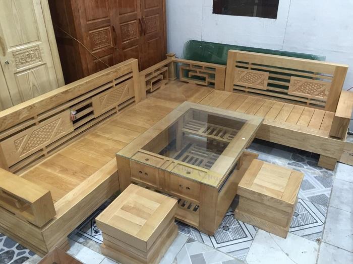 Hình ảnh bộ bàn ghế sofa gỗ phòng khách với thiết kế dạng sofa góc