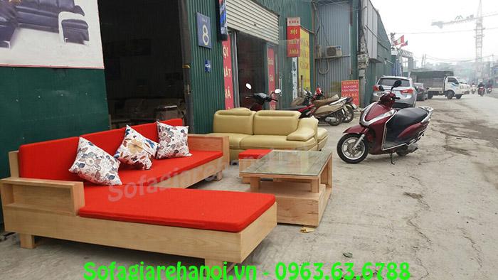 Hình ảnh bộ bàn ghế gỗ hình chữ L cho chung cư tích hợp nệm mút