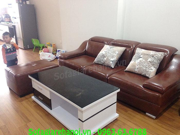 Hình ảnh bộ bàn ghế sofa nhỏ đẹp với thiết kế dạng ghế sofa văng da