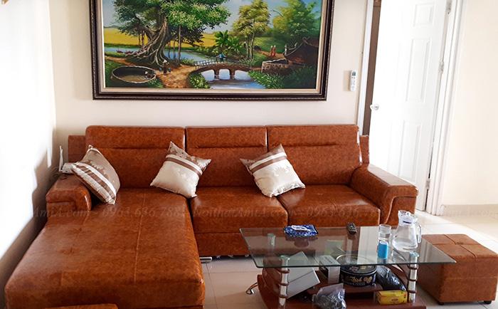 Hình ảnh Bộ ghế sofa da góc chữ L màu da bò đẹp hiện đại, sang trọng và thời thượng