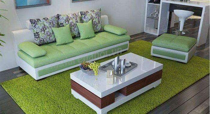 Hình ảnh bộ ghế sofa văng đẹp nhỏ xinh màu xanh nhẹ nhàng và tinh tế