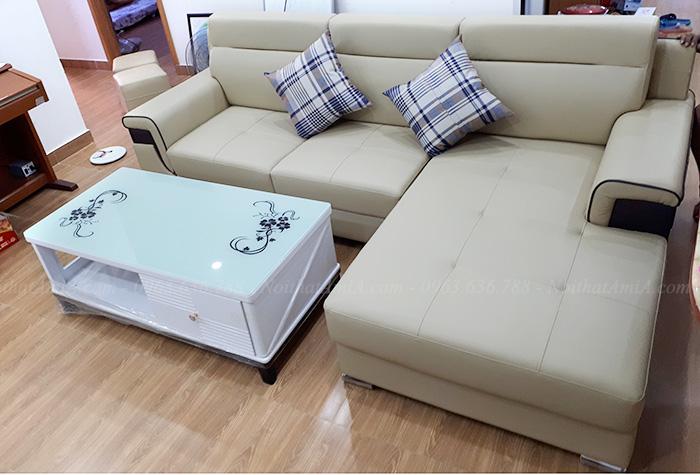 Hình ảnh Ghế sofa đẹp da góc chữ L hiện đại và sang trọng cho căn phòng khách gia đình