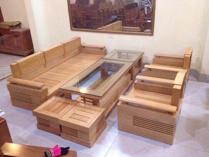 Hình ảnh bộ bàn ghế gỗ phòng khách giá rẻ tại Hà Nội