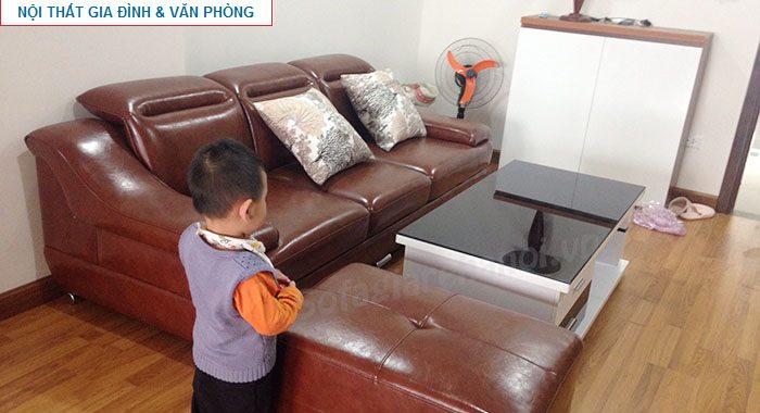 Hình ảnh bộ bàn ghế sofa nhỏ đẹp hiện đại với chất liệu da và kiểu dáng ghế sofa văng