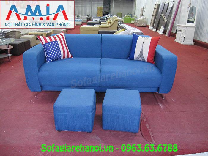 Hình ảnh ghế sofa nhỏ xinh màu xanh đẹp hiện đại với chấ