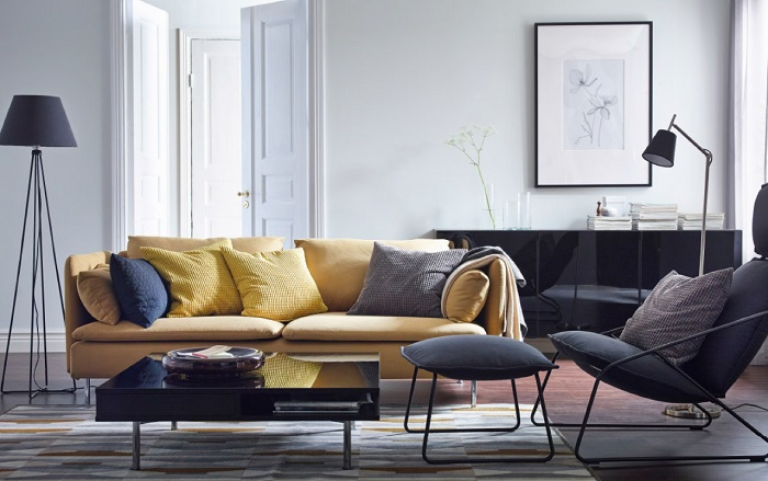 Hình ảnh ghế sofa văng bài trí trong không gian căn phòng khách nhà chung cư
