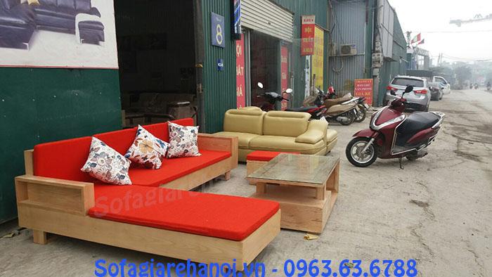 Hình ảnh ghế sofa gỗ góc chữ L cho nhà chung cư