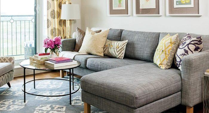 Hình ảnh bộ bàn ghế cho nhà chung cư nhỏ với phong cách thiết kế hiện đại với kiểu dáng sofa hình chữ L
