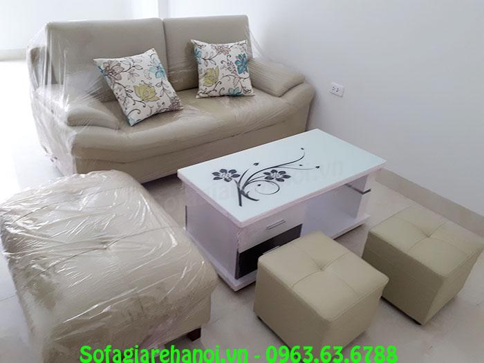 Hình ảnh mhế sofa nhỏ đẹp hiện đại dạng ghế văng chung cư tích hợp thêm đôn lớn và 2 đôn nhỏ