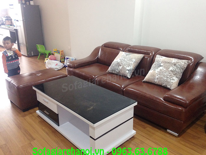 Hình ảnh mẫu ghế sofa văng cho phòng khách nhà chung cư đẹp hiện đại và sang trọng với chất liệu da