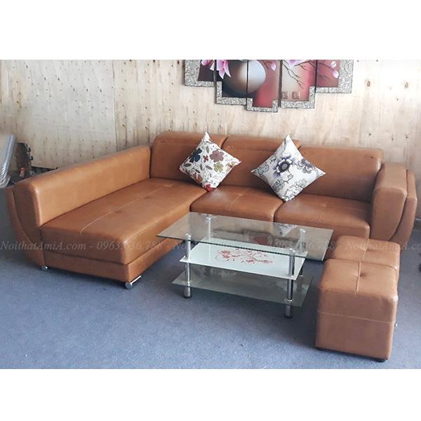 Ghế Sofa Da Góc Chữ L 3 Chỗ Màu Nâu Sang Trọng Amia Sfd148