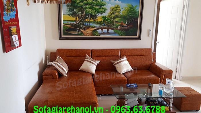 Hình ảnh bộ ghế sofa da chung cư bài trí trong căn phòng khách