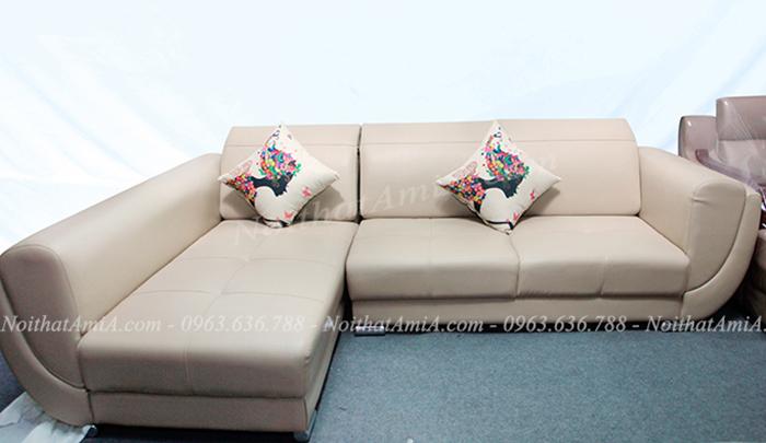 Hình ảnh Mẫu ghế sofa đẹp da chữ L cho phòng khách đẹp gia đình