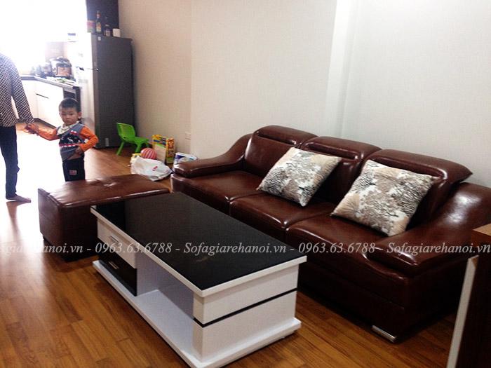 Hình ảnh ghế sofa văng đẹp cho nhà chung cư với chất liệu da hiện đại