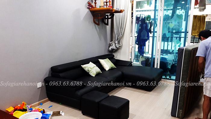 Hình ảnh ghế sofa da góc chữ L đẹp với gam màu đen sang trọng, đẳng cấp