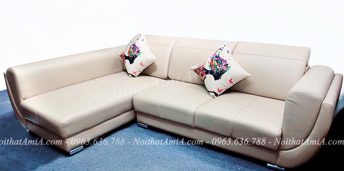 Hình ảnh Sofa da đẹp chữ L cho căn phòng khách hiện đại gia đình Việt