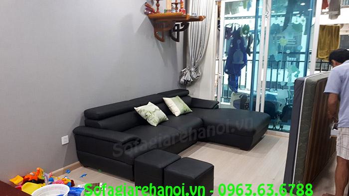 Hình ảnh sofa da màu đen cho nhà chung cư, phòng khách căn hộ ch