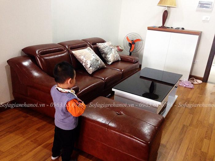 Hình ảnh sofa văng da đẹp hiện đại cho phòng khách nhà chung cư