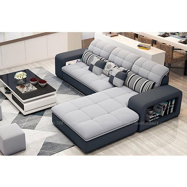 Sofa đẹp nỉ chữ L 3 chỗ rút khuy hiện đại AmiA SF199