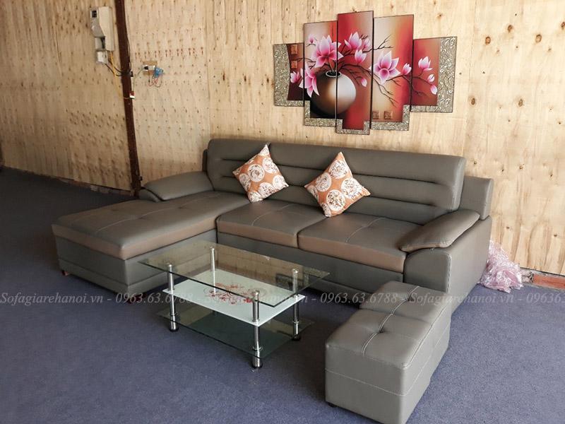 Hình ảnh Bàn ghế sofa đẹp chữ L với chất liệu da hiện đại