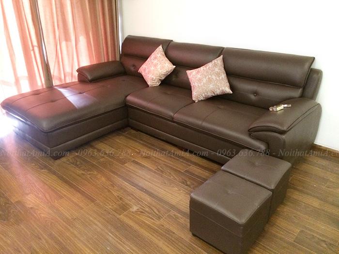 Hình ảnh Bộ ghế sofa da chữ L thiết kế hiện đại và sang trọng