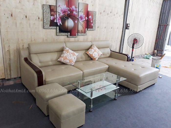 Hình ảnh Bộ ghế sofa đẹp da chữ L hiện đại và sang trọng