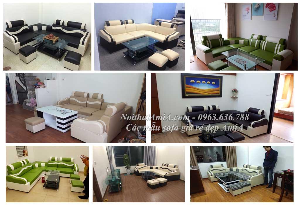 Hình ảnh các mẫu sofa giá rẻ đẹp chụp tại phòng khách nhà khách hàng
