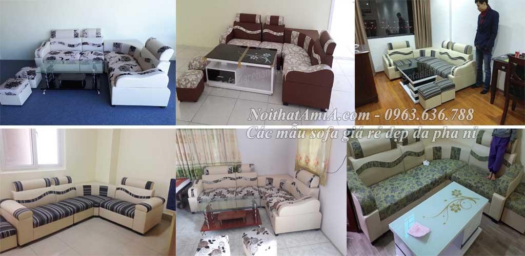 Hình ảnh các mẫu sofa giá rẻ đẹp da pha nỉ tại Nội thất AmiA