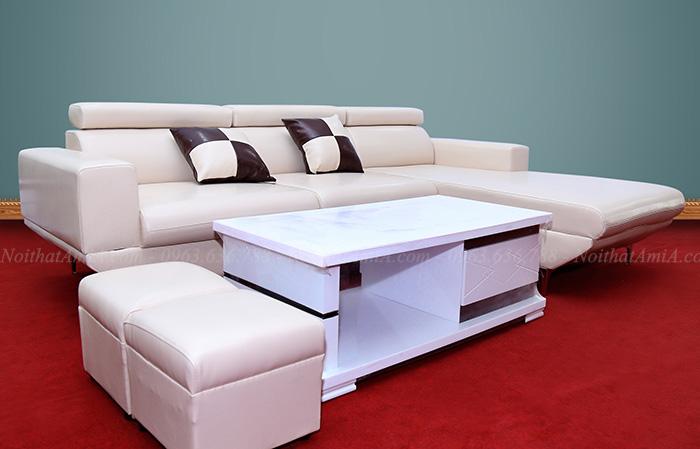 Hình ảnh Ghế sofa da chữ L đẹp hiện đại cho phòng khách đẹp AmiA SFD038