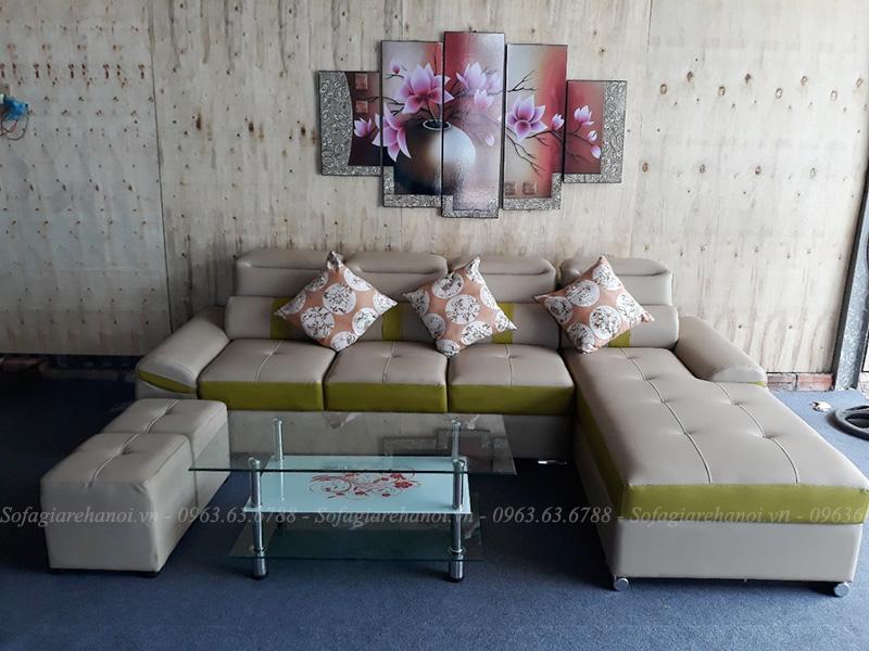 Hình ảnh mẫu ghế sofa da chữ L đẹp cho căn phòng khách gia đình