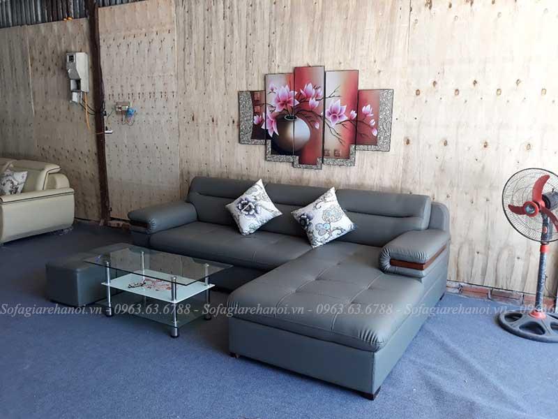 Hình ảnh ghế sofa da chữ L đẹp hiện đại với thiết kế rút khuy