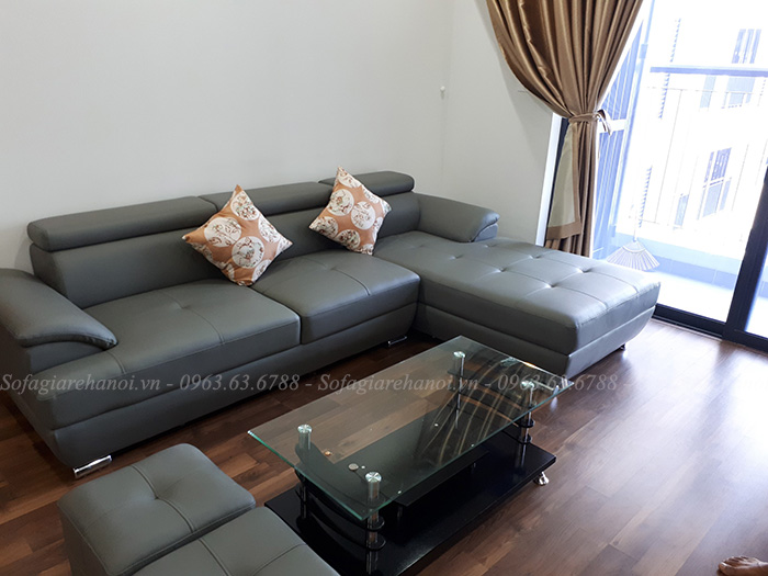 Hình ảnh mẫu ghế sofa da góc chữ L với thiết kế rút khuy hiện đại