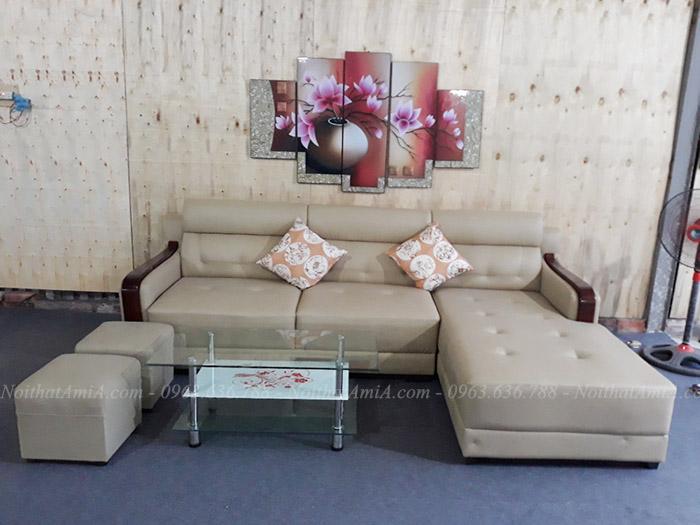 Hình ảnh Ghế sofa da đẹp chữ L với tay ốp gỗ