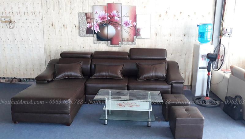 Hình ảnh Ghế sofa da đẹp hình chữ L cho căn phòng hiện đại
