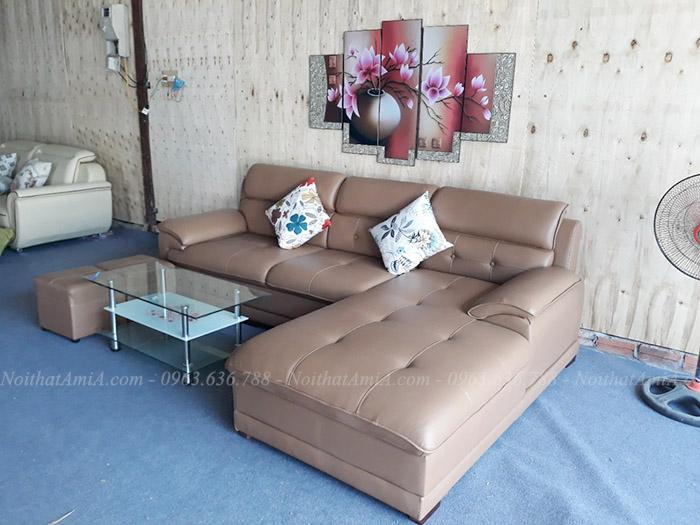 Hình ảnh Mẫu ghế sofa da góc chữ L đẹp chụp tại Nội thất AmiA