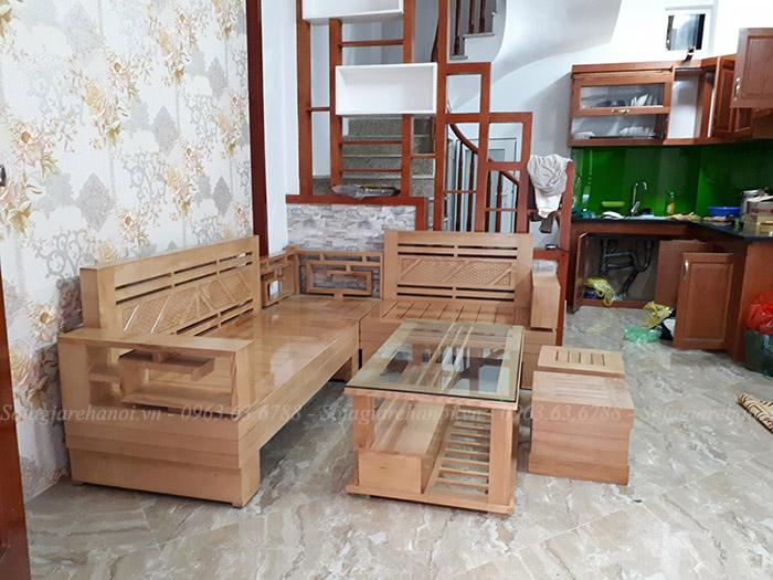 Hình ảnh bộ ghế sofa gỗ góc đẹp hiện đại và sang trọng cho căn phòng khách gia đình